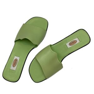 TALBOTS Green Leather Slide Sandals 8B NEW